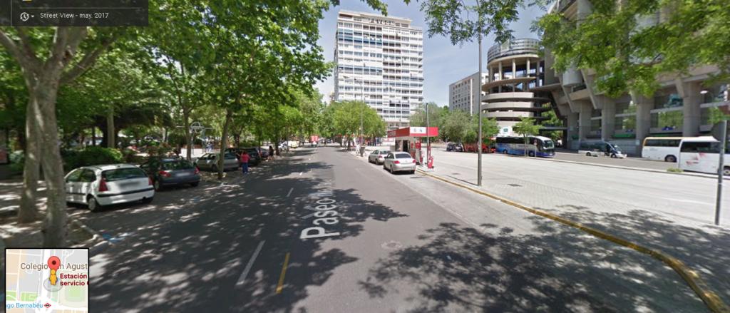 gasolinera Cepsa en Madrid, Paseo de la Castellana, frente al estadio Santiago Bernabeu